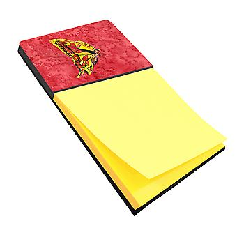 Butterfly on Red Refiillable Sticky Note Holder or Postit Note Dispenser