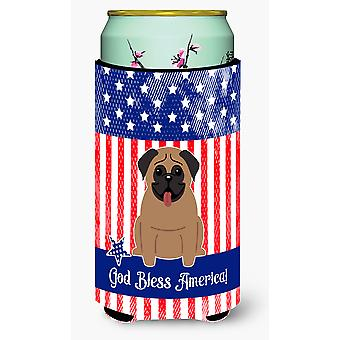 Patriotiske USA Pug brun høy gutt drikke isolator Hugger