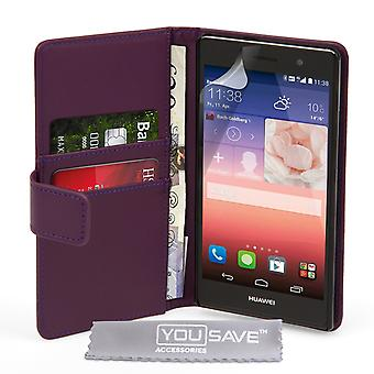Huawei Ascend P7 Leather-Effect Wallet Case - Purple