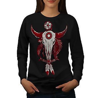 Indiske Buffalo kraniet kvinder BlackSweatshirt | Wellcoda