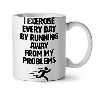 Run Away Problem Funny NEW White Tea Coffee Ceramic Mug 11 oz | Wellcoda