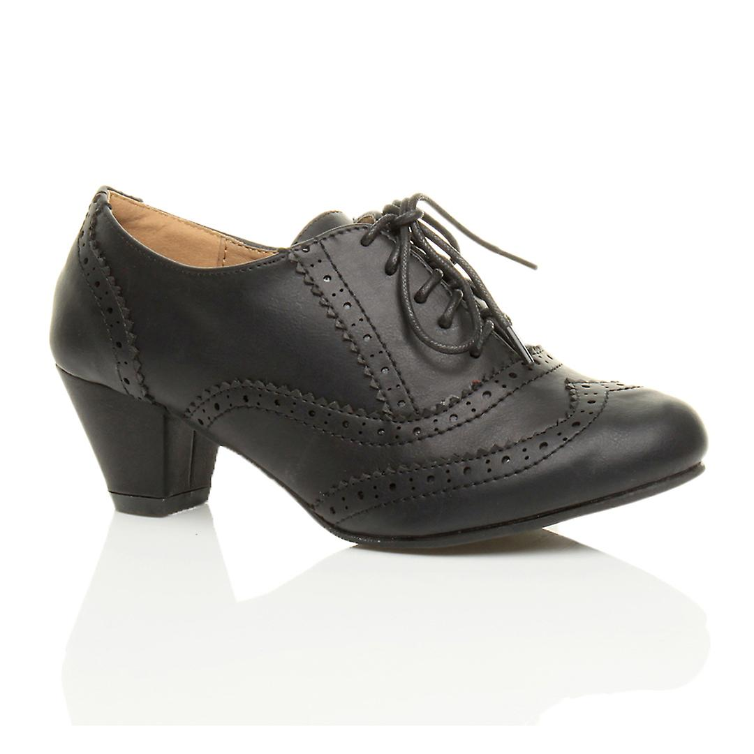 Ajvani Womens Mitte niedrigen Blockabsatz ausgeschnitten Schnürschuh Komfort Kautschuk Sohle Brogue Schuh Stiefel Stiefeletten