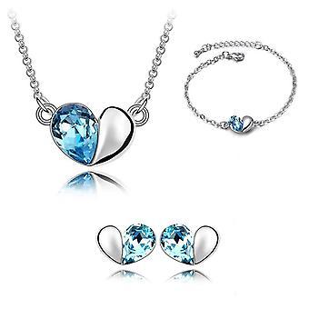 Himmelblau Design Liebe Herz unter dem Motto Schmuck Halskette Armband Ohrringe Set BG1403