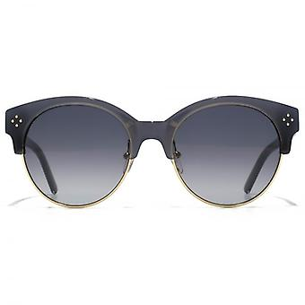 Chloe Boxwood Round Browline Style Sunglasses In Grey