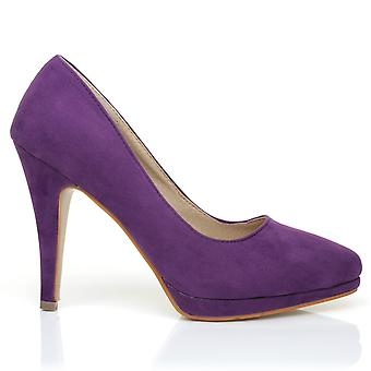 EMMA Purple Faux Suede Stiletto High Heel Platform Pointed Shoes