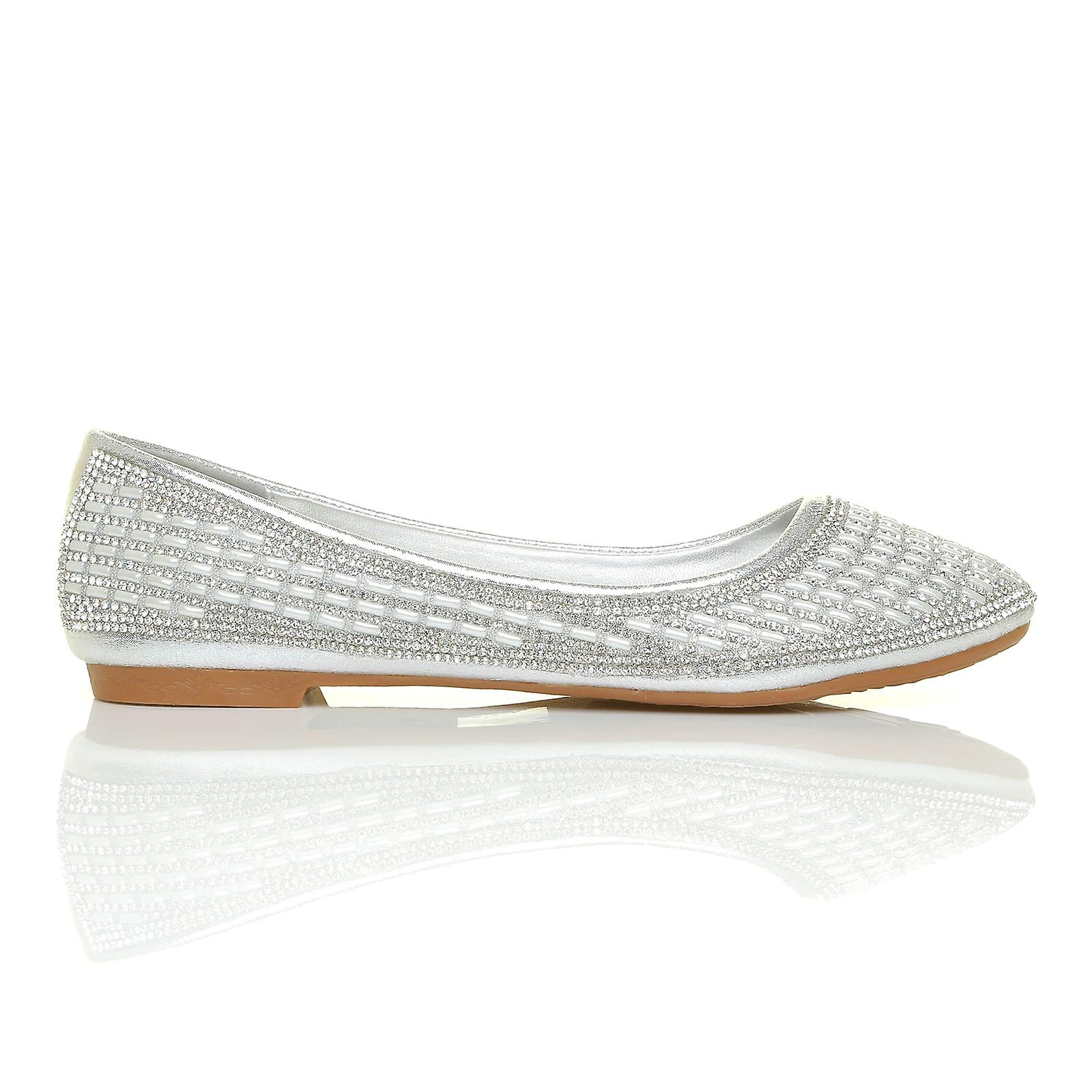 GILL Silver Shimmer Diamante Encrusted Flat Softie Ballerina Slip On Shoes