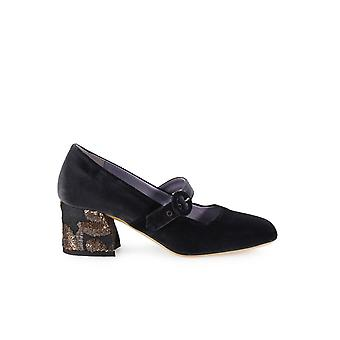 G DI G GREY VELVET PUMPS WITH EMBROIDERED HEEL