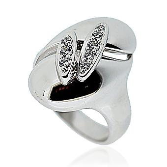Orphelia Silver 925 Ring Oval V  Zirconium   ZR-3579