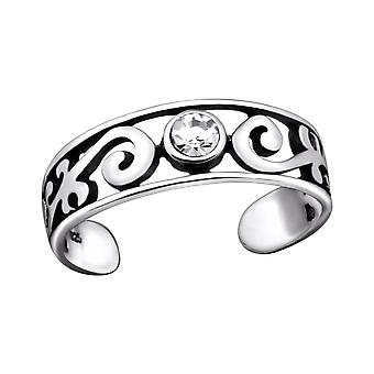 Patterned - 925 Sterling Silver Toe Rings - W29418x
