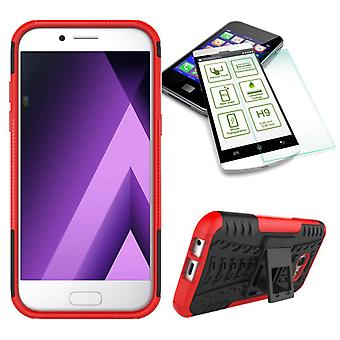 Hybrid case 2 piece red for Samsung Galaxy A3 2017 A320F + tempered glass