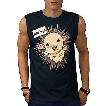 Hedgehog Free Hug Men NavySleeveless T-shirt   Wellcoda