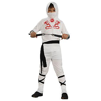 White Dragon Ninja Stealth Assassin Japanese Warrior Book Week Boys Costume