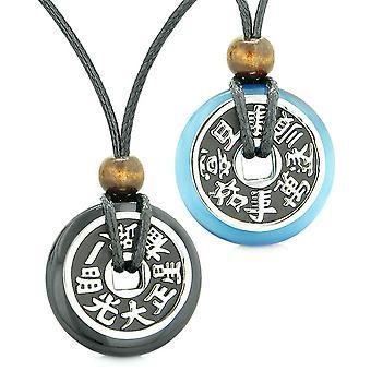 Amuletter stor Reversible formue mønter kærlighed par Yin Yang agat Sky Blue katte øje halskæder