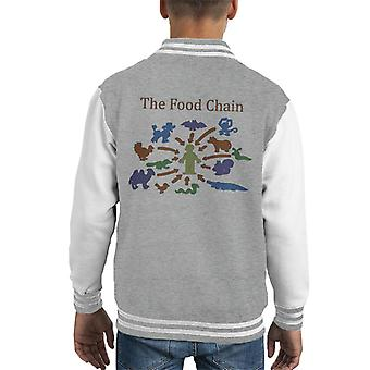 The Food Chain Ends With Man Kid's Varsity Jacket