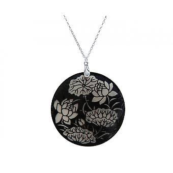 Gemshine - Damen - Halskette - Anhänger - Medaillon - Perlmutt - FLOWERS - 925 Silber - Schwarz - Weiß - 5 cm