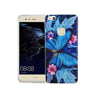 Mobile Shell for Huawei P10 Lite cover case protective bag motif slim TPU + armor protection glass 9 H blue butterfly