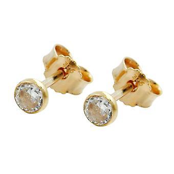 375 earrings gold earrings gold of Zircons plug, approx. 3 mm cubic zirconia, 9 KT GOLD