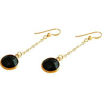 Black - approx 4.5 cm - Onyx - gold-plated ladies - earrings - earrings - 925 Silver-