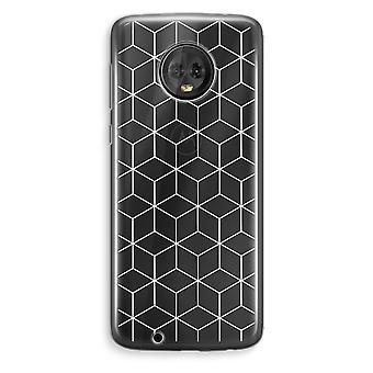 Motorola Moto G6 Plus Transparent Case (Soft) - Cubes black and white
