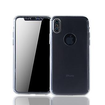 Apple iPhone XS Handy-Hülle Schutz-Case Full-Cover Panzer Schutz Glas Transparent