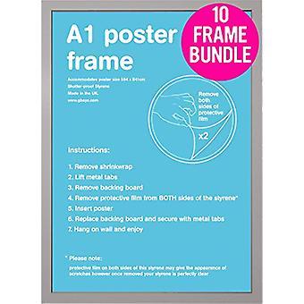 GB affiches 10 argent A1 Poster Frames 59,4 x 84,1 cm Bundle