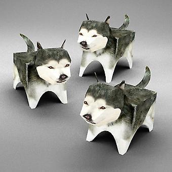 Akk Malamute familie 3D papir Puzzle