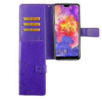 Huawei P20 Pro Handy-Hülle Schutz-Tasche Cover Flip-Case Kartenfach Violett