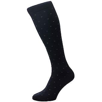 Pantherella Banim Mini Box Motif Merino Wool Over the Calf Socks - Navy