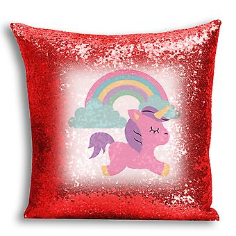 i-Tronixs - Unicorn Printed Design Red Sequin Cushion / Pillow Cover for Home Decor - 4