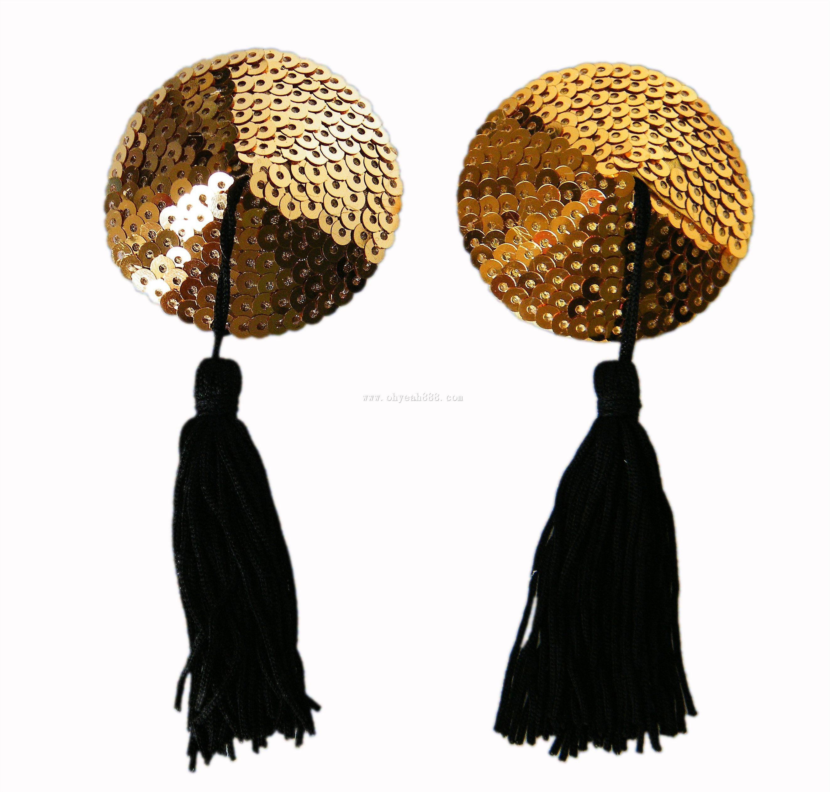 Waooh 69 - Nippies Nipple Cover Tassel Sequins And Gold