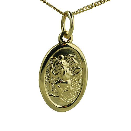 18ct Gold 17x11mm oval St Christopher with Curb chain