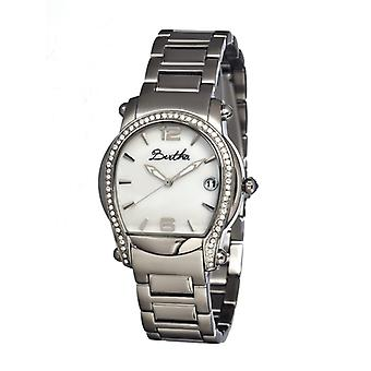 Bertha Fiona MOP Ladies Bracelet Watch w/ Date - Silver/White