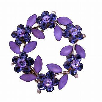 Rund Flower Silver Casting safir krystaller blomst brosje