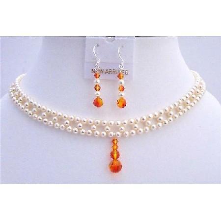 Bridal Jewelry Swarovski Ivory Pearls Fire Opal Crystals Drop Down Set