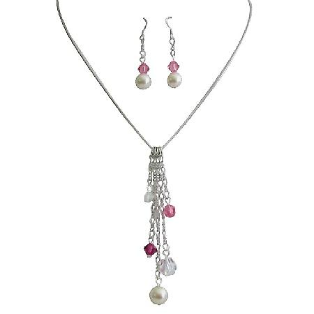 Christmas Gifts For Wife GirlFriend Tinkerbell Necklace Set Ivory Pink Combo