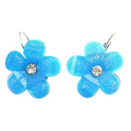 Blue Flower Earrings Summerish Shinning Elegant Dangling Earrings