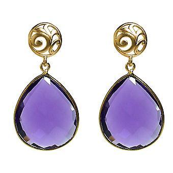 Gemshine øredobber lilla ametyst gemstone dråper i 925 sølv eller gullbelagt