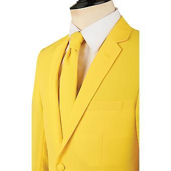 Mens Lemon Yellow 2 Piece Suit Regular Fit Notch Lapel Novelty Partywear by d/Spoke