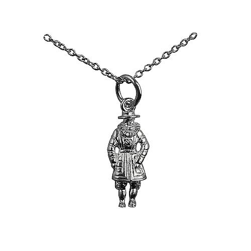 Silver 18x8mm Beefeater Pendant with a Rolo Chain 14 inches Only Suitable for Children