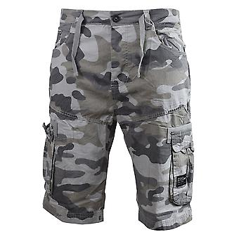 Mens cargo shorts crosshatch army camo utility