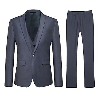 Allthemen Men's Korean Version One-Button Slim Business Casual 3-Piece Suit Blazer Vest Trousers