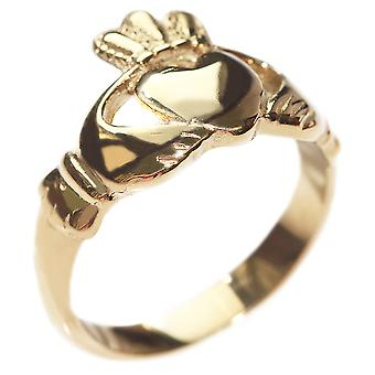 Engraved with Love, Loyalty, Friendship - Gold Over Steel Celtic Claddagh Ring