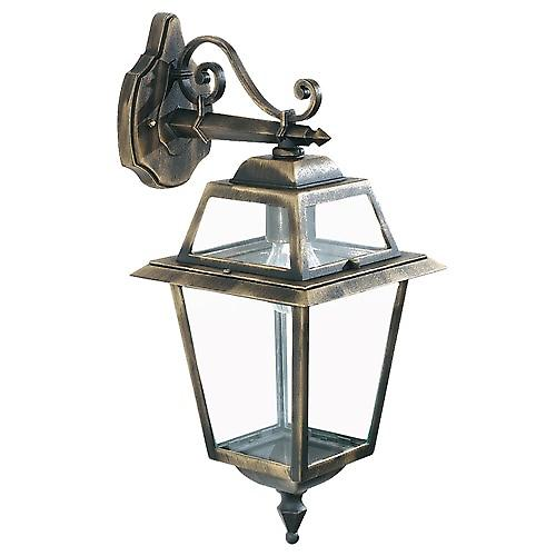 Searchlight 1522 New Orleans IP44 Black & Gold Outdoor Wall Downlighter With Clear Glass