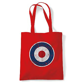 Retro MOD RAF Target Tote | Mod Scooter Punk Ska Revival Skinhead Psychedelic | Reusable Shopping Cotton Canvas Long Handled Natural Shopper Eco-Friendly Fashion