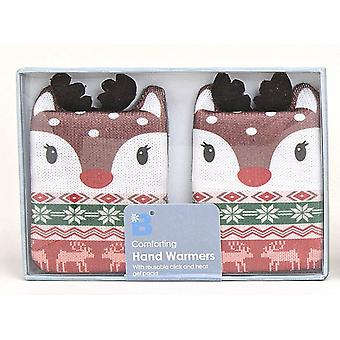 Fair Isle Animal Click & Heat Gel Hand Warmers (Pair): Reindeer