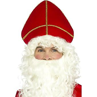 Saint Nicholas Hat Red, Christmas Fancy Dress Accessories, One Size