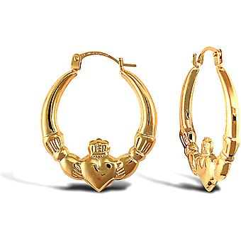Jewelco London Ladies 9ct Yellow Gold Claddagh (Chladaigh) Creole Earrings
