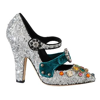 Dolce et Gabbana Silver Sequined Crystal Mary Janes Pompes -- LA56550896