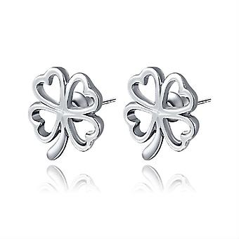 14K Gold Plated 4 Petals Stud Earrings, 1.4cm