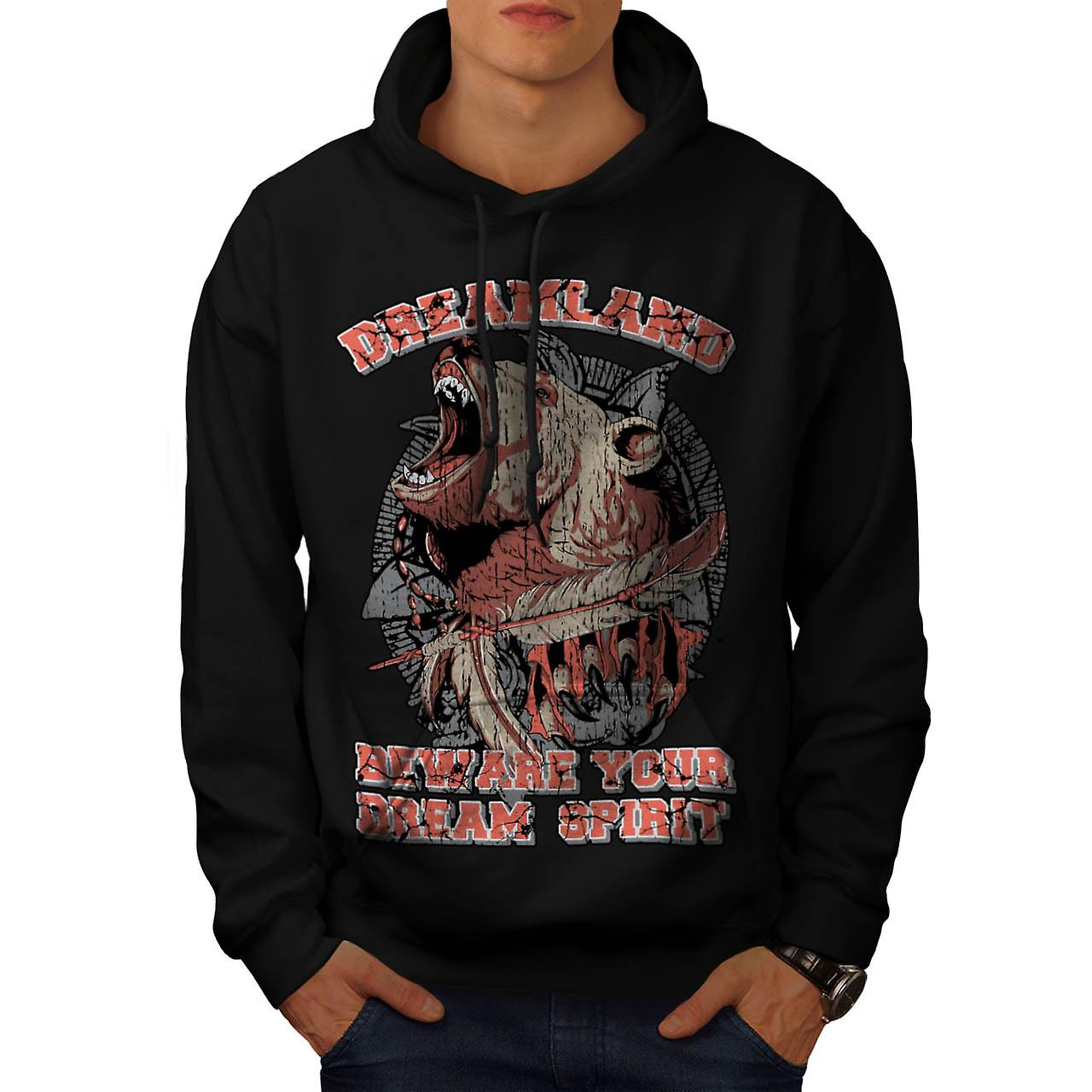 Dream Land Wild Bear Danger  Men Black Hoodie | Wellcoda